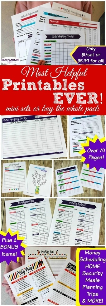 The Most Helpful Printables EVER for busy families! Nab just a mini set of your favorites, or get the whole pack! Practically every printable a busy family could use - over 70 pages PLUS two BONUS items! Help get organized with categories like: Money, Scheduling/Time Management, Kitchen/Meal Planning, Security & Home Management, as well as Trip Planning! #printables #busymom #busyparents #busyfamily #busyfamilies #printableset #parenting #moms #money #homemanagement #timemanagement