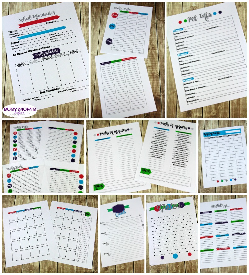 Ultimate Set of Printables for Busy Families! Practically every printable a busy family could use - over 70 pages PLUS two BONUS items! Help get organized with categories like: Money, Scheduling/Time Management, Kitchen/Meal Planning, Security & Home Management, as well as Trip Planning! #printables #busymom #busyparents #busyfamily #busyfamilies #printableset #parenting #moms #money #homemanagement #timemanagement