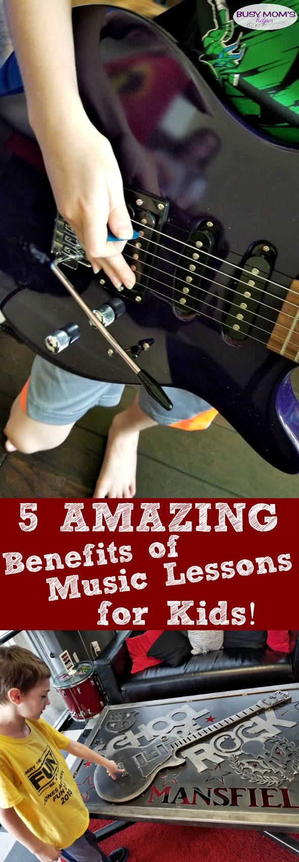 5 Benefits of Music Lessons for Kids #ad #schoolofrockdfw #sormansfield #music #kids #parenting