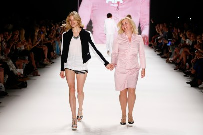 BERLIN, GERMANY - JUNE 28: Model Larissa Marolt (L) and her mother walk the runway at the Riani show during the Mercedes-Benz Fashion Week Berlin Spring/Summer 2017 at Erika Hess Eisstadion on June 28, 2016 in Berlin, Germany. (Photo by Frazer Harrison/Getty Images for Riani) *** Local Caption *** Larissa Marolt
