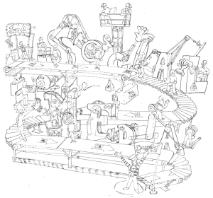 "Rube Goldberg style illustration with the words ""Social Media"""