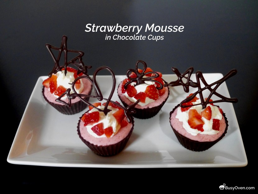 Strawberry Mousse in Chocolate Cups