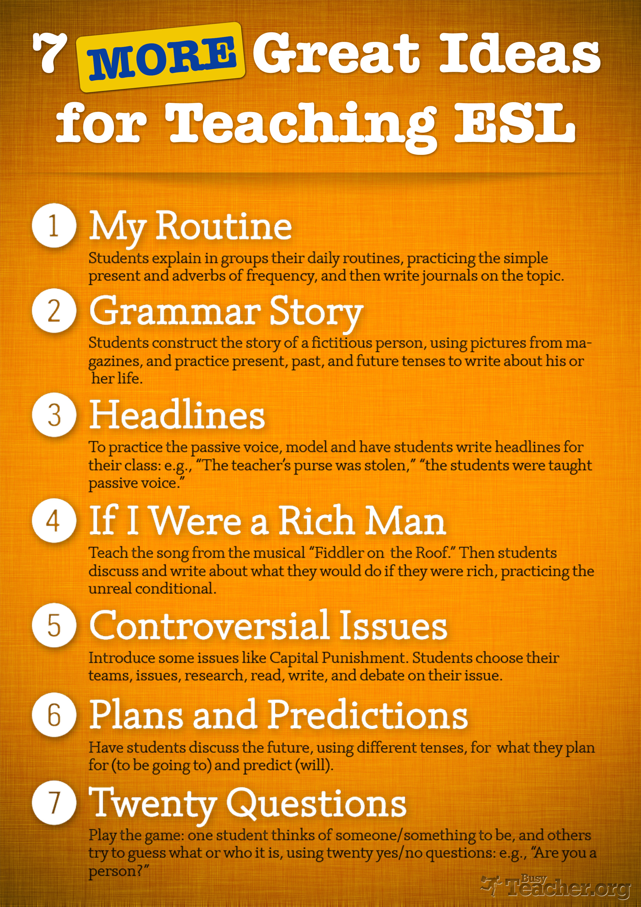 7 More Great Ideas For Teaching Esl Poster