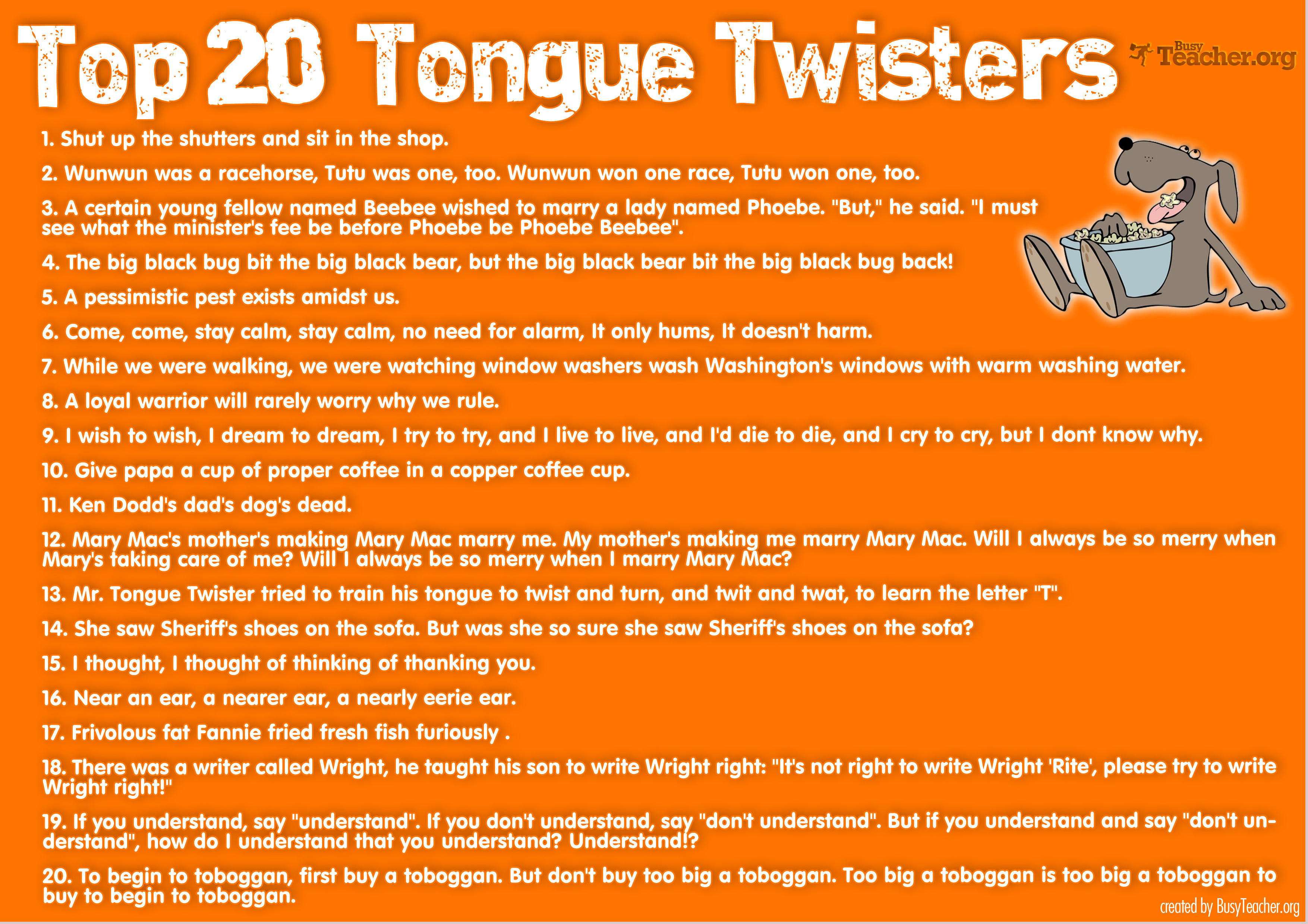 Top 20 Tongue Twisters Poster