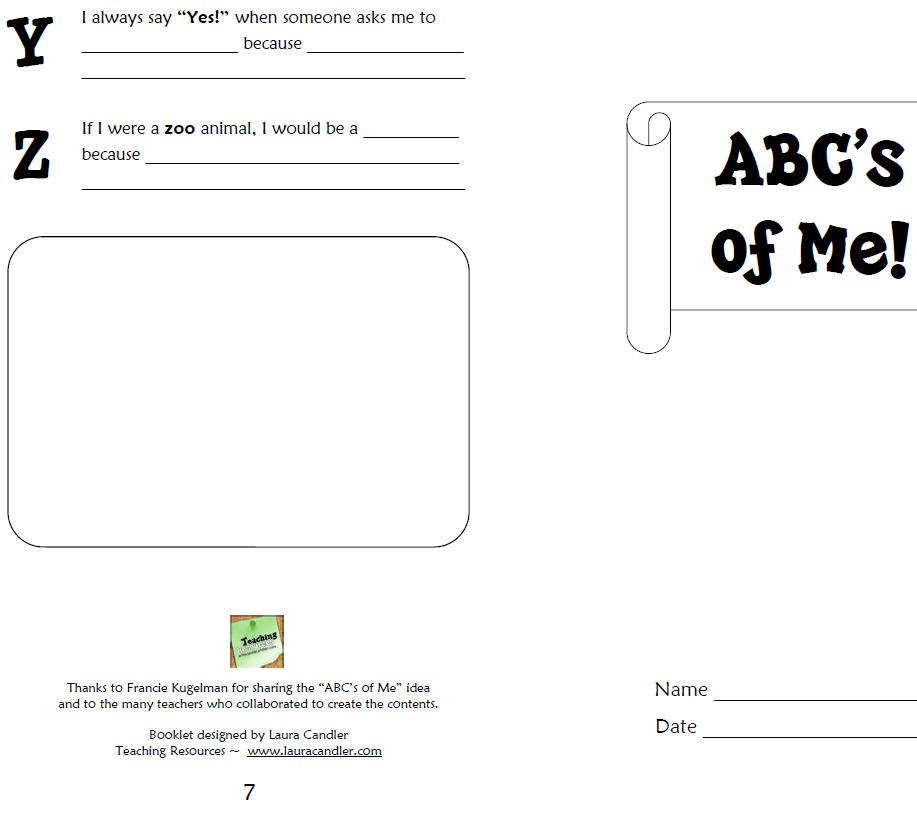Back To School Worksheet Abc S Of Me