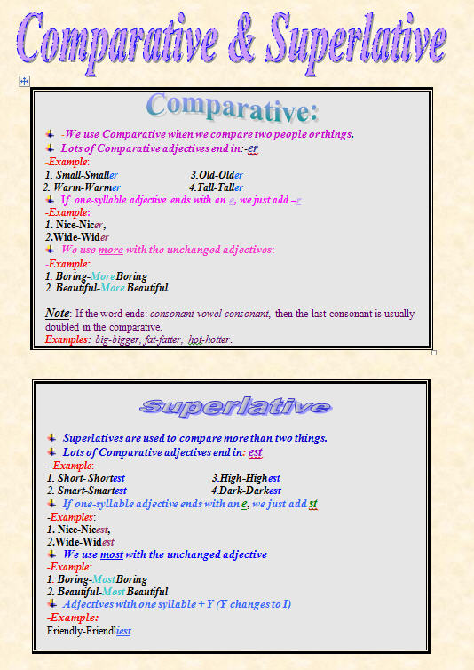 Comparative And Superlative Worksheet