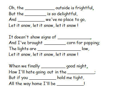 Song Worksheet Let It Snow By Frank Sinatra