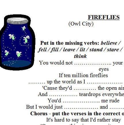 Song Worksheet Fireflies By Night Owl