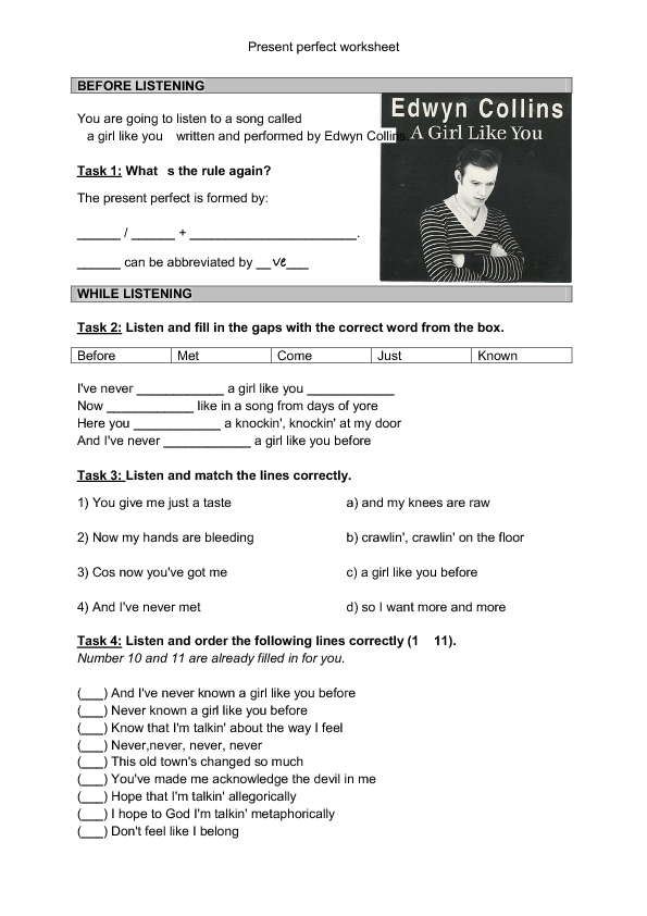 Song Worksheet Girl Like You Present Perfect