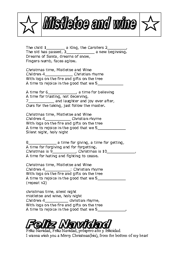Song Worksheet Mistletoe And Wine By Cliff Richards