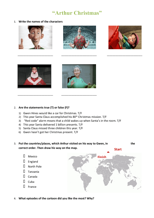 Movie Worksheet Arthur Christmas