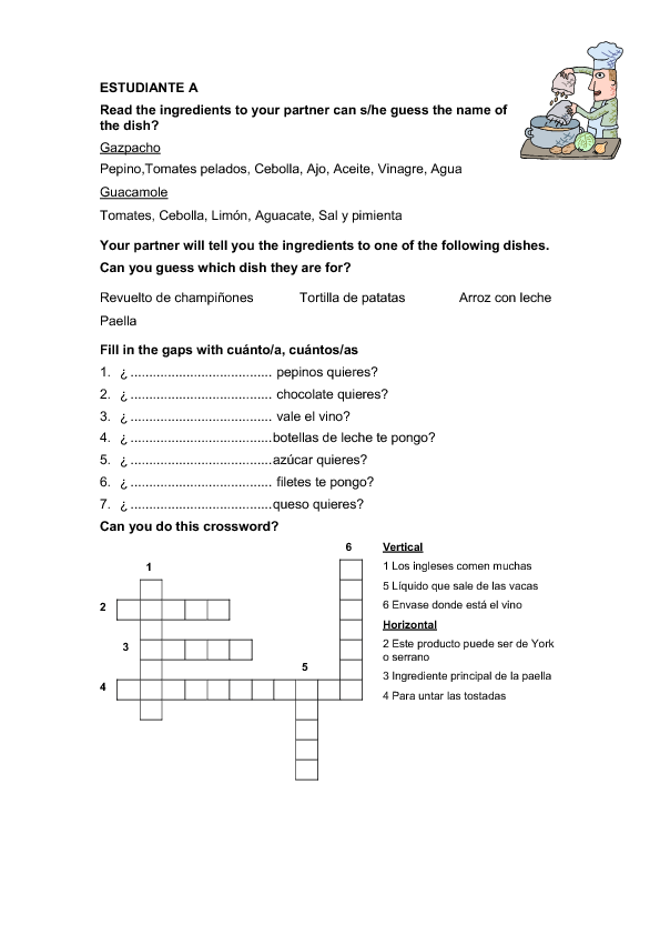 Food Worksheet Guess The Dish For Spanish Speakers