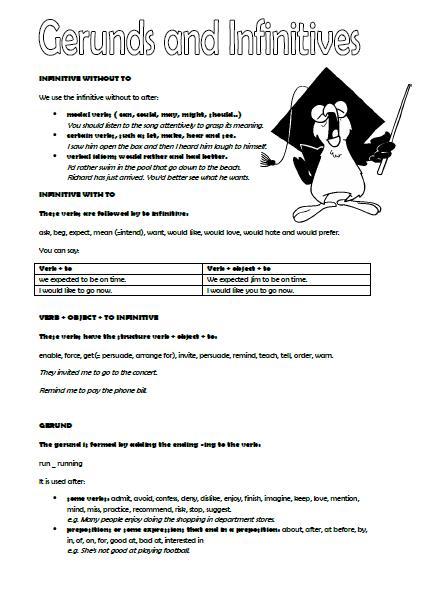Gerund And Infinitive Intermediate Worksheet