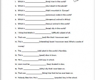 Image Result For Adjective Exercise Worksheet