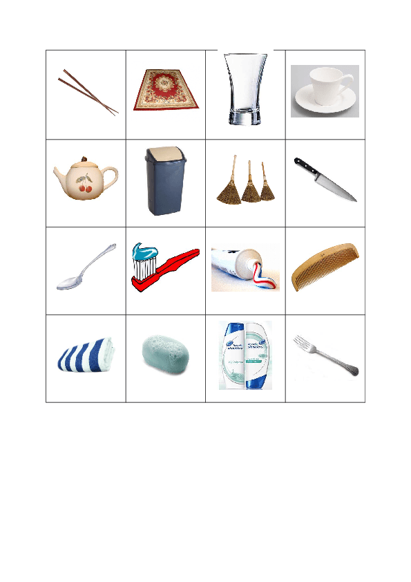 Everyday Objects Bingo Cards 4x4 9 Cards