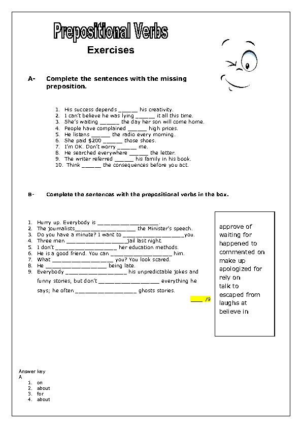 Prepositional Verbs Worksheet
