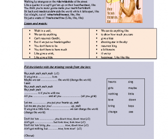 Song Worksheet Put Your Hearts Up By Ariana Grande