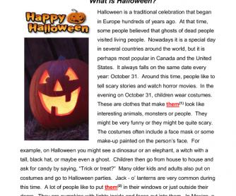 What Is Halloween Reading Amp Grammar Practice