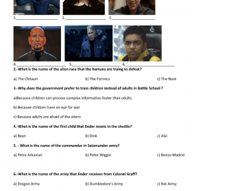 Movie Worksheet Ender S Game