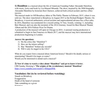 Movie Worksheet Broadway Musical Hamilton Reading