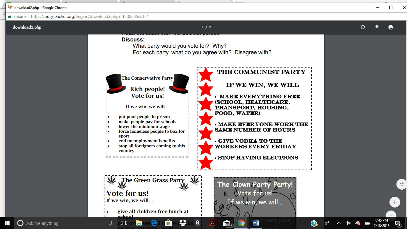 66 Free Politics Worksheets
