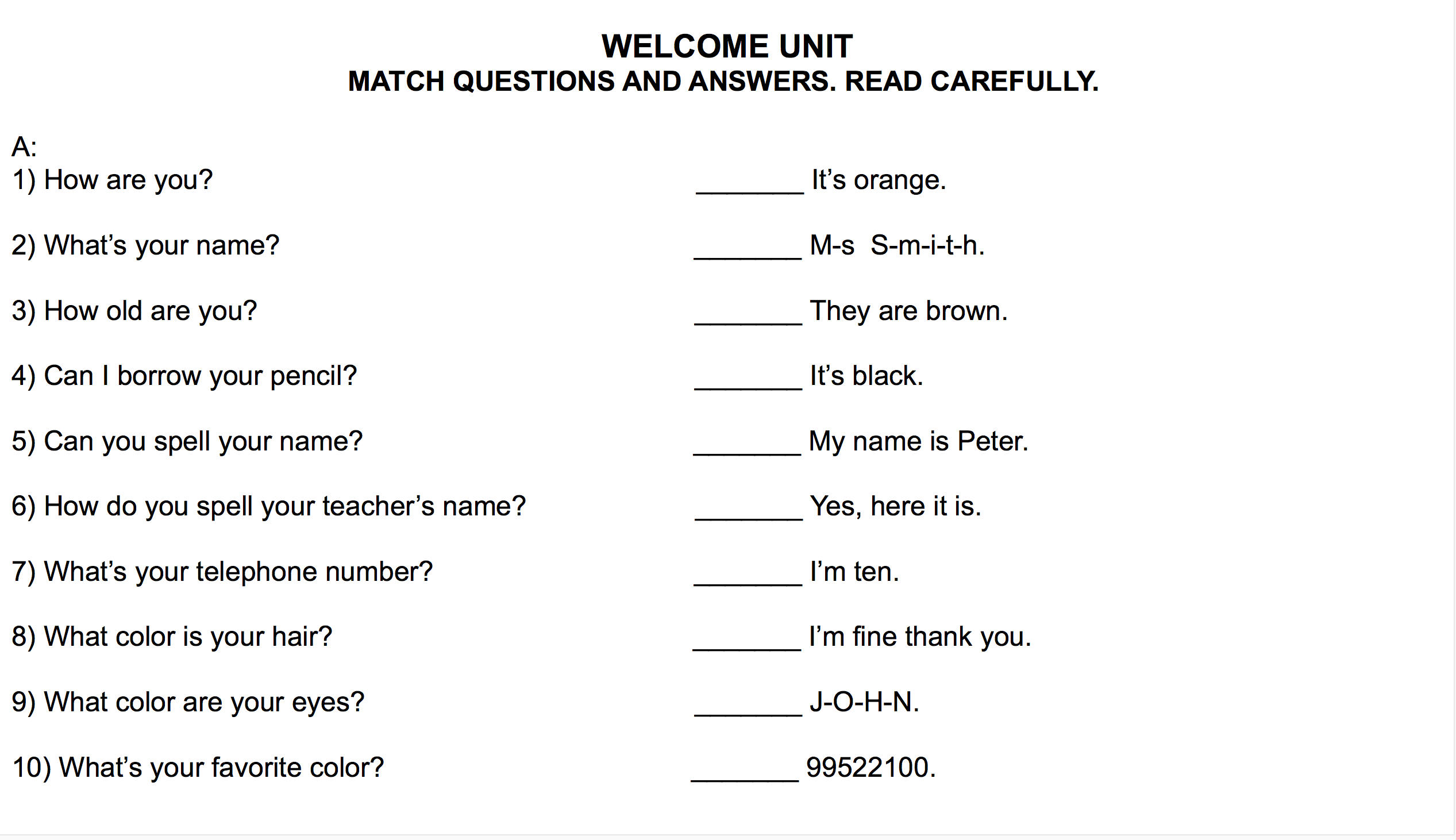 7th Grade Year 7 English Worksheets