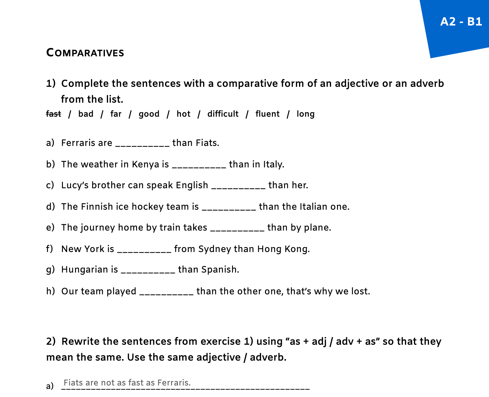 Degrees Of Adjectives Worksheets For Grade 4 With Answers