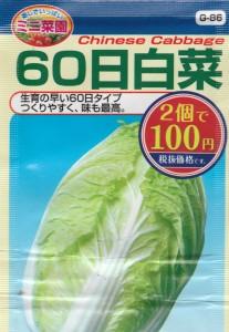 100均の種 表記名: 60日白菜 品種名: CRアルチャン コスト: ¥54