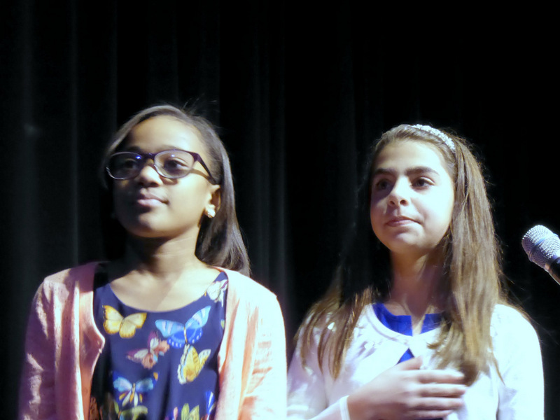 Skye Correy and Anahit Sinanyan, daughters of Portantino staff, leading pledge of allegiance at swearing in celebration