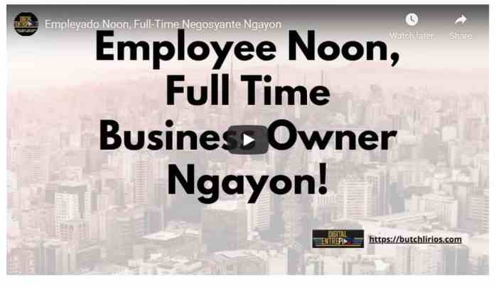Empleyado Noon, Full-Time Business Owner Ngayon