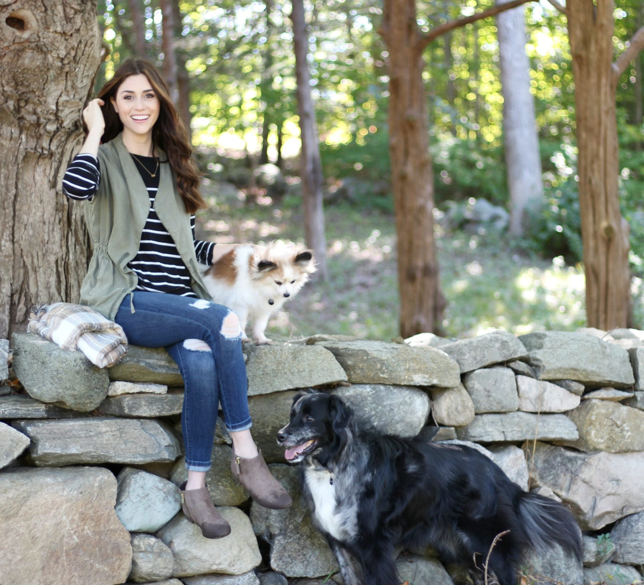Fall Style | Army Green Vest Outfit, my dogs didn't approve