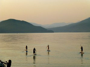 Paddle boarders on Whitefish Lake