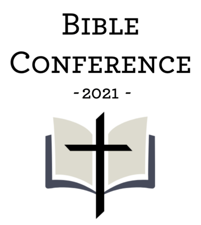logo of bible conference for 2021 with bible and cross overlap