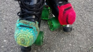 skates with crocheted toe guards