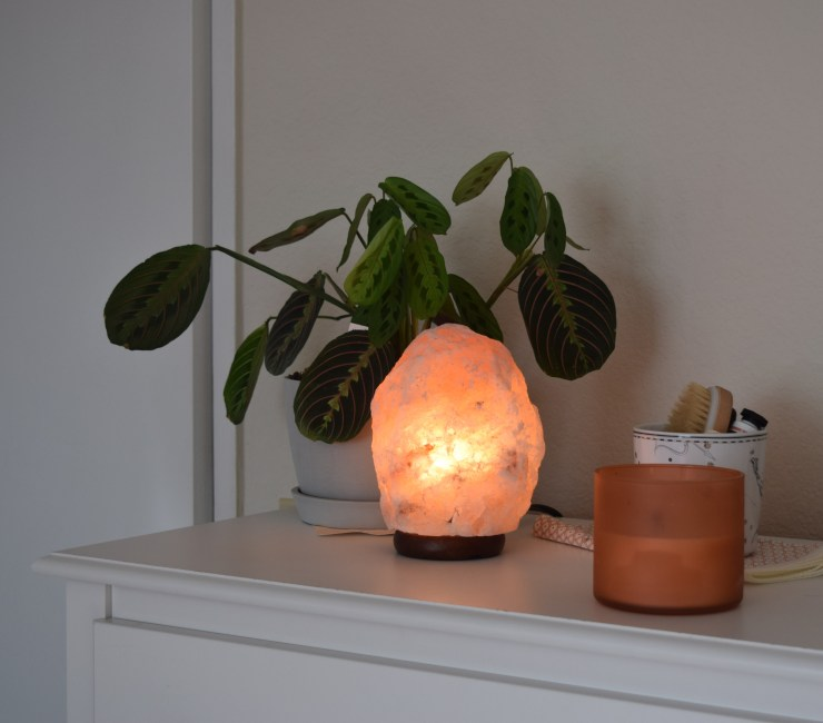 self care, salt lamp, house plant, candle, selfcare,