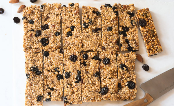 batch of Berry Almond Superfood Bars cut up