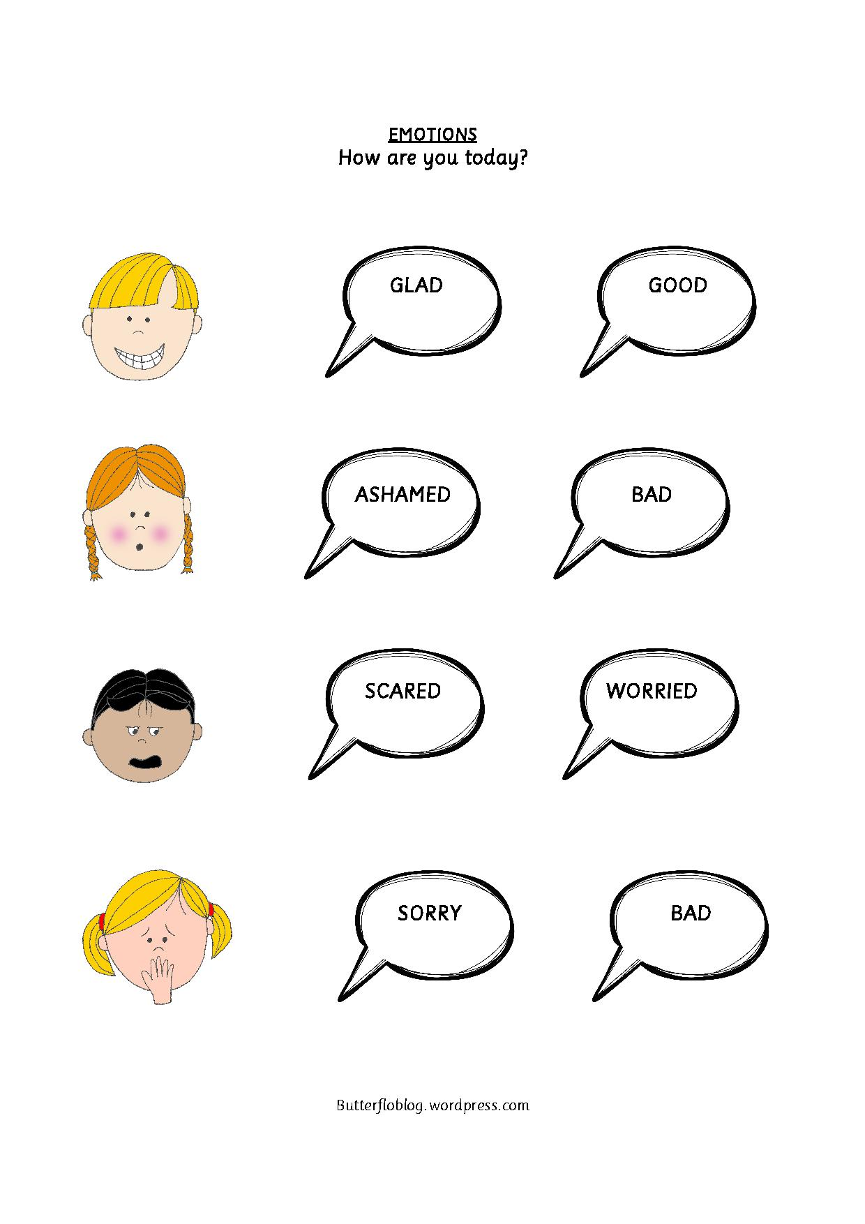 Emotions Cut And Paste Worksheet