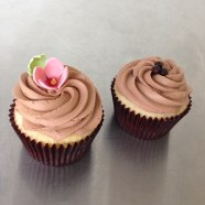 White chocolate buttermilk cupcakes with whipped chocolate ganache.