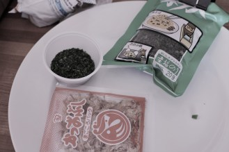 nori and tuna flakes