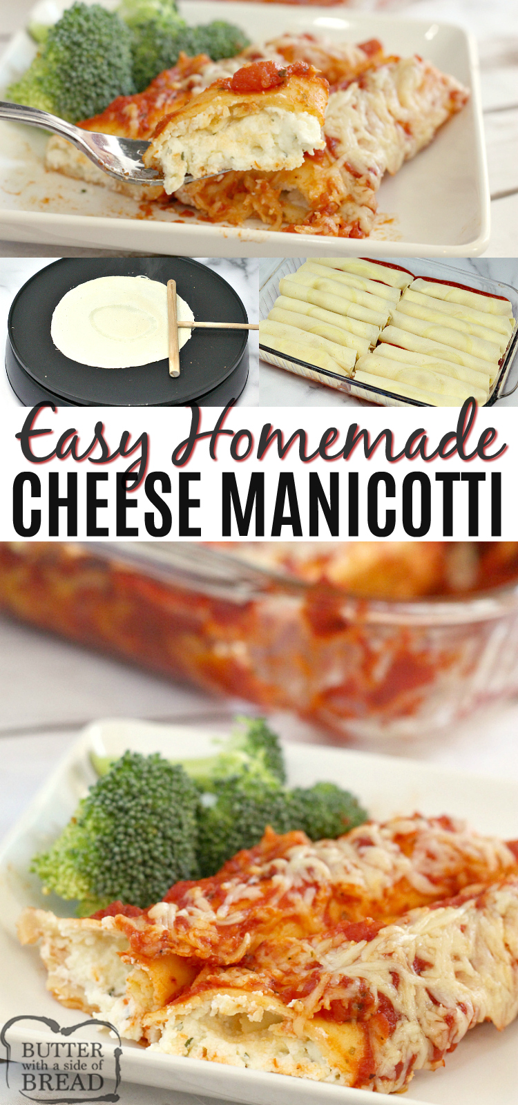 Easy Cheese Manicotti recipe that is made with homemade crepes for the noodles and then stuffed with a cheesy filling. This simple Italian dish comes together easily for a delicious meatless meal that the whole family will enjoy!