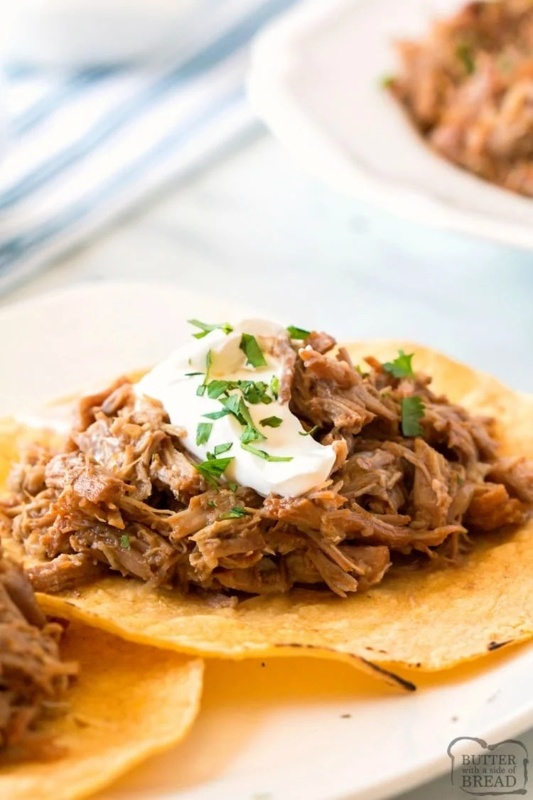 Slow Cooker Pork Carnitas Butter With A Side Of Bread