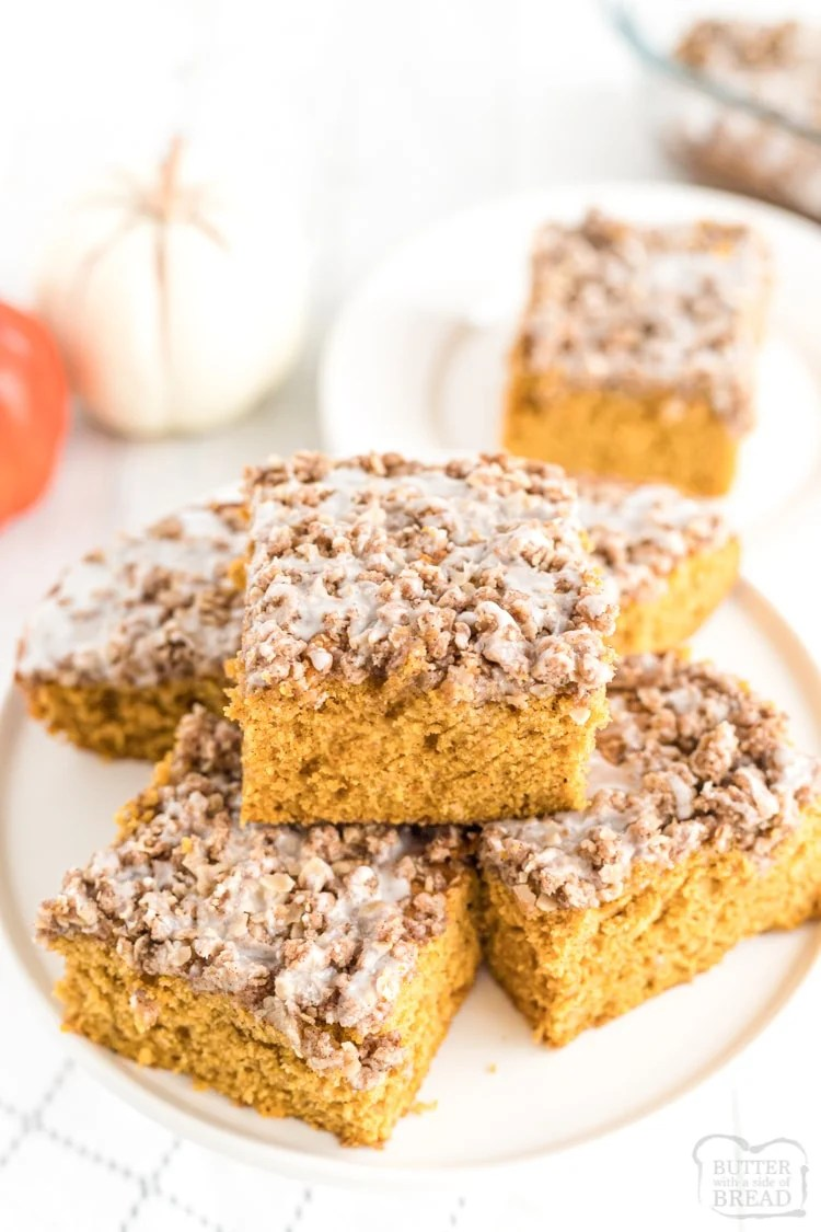 Pumpkin breakfast cake is a delicious morning treat! Easy Pumpkin cake, streusel topping and glaze poured over the top, you'll definitely want to keep this recipe!