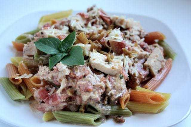 Creamy Chicken, Bacon, Tomato Pasta, Easy summer meals