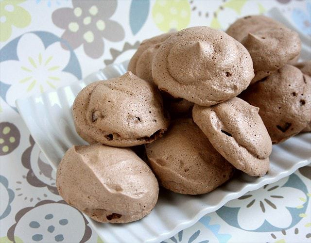 Chocolate Andes Mint Meringue Cookies Butter with a Side of Bread