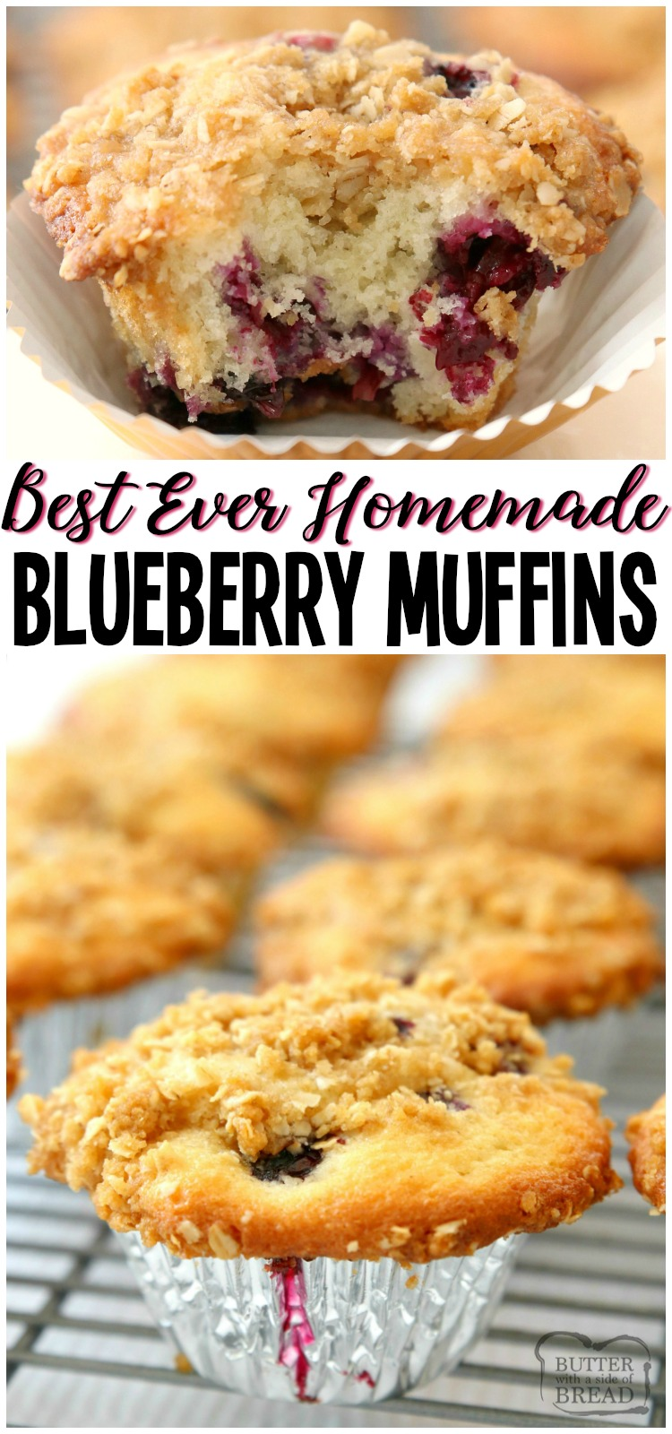 Best Blueberry Muffins that are light, flavorful and full of sweet, juicy blueberries! Family favorite recipe that's been perfected over the years. Everyone loves the buttery streusel topping! #blueberry #muffins #breakfast #baking #blueberries #recipe from BUTTER WITH A SIDE OF BREAD