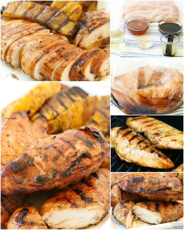 Honey Chicken with Glazed Pineapple is perfect for summer dinners! This sweet & tangy grilled chicken marinade recipe yields tender, juicy & flavorful chicken.
