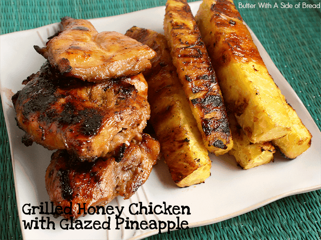 Grilled Honey Chicken with Glazed Pineapple recipe is a favorite grilled chicken recipe! The sweet and savory marinade is amazing and yields tender, juicy & flavorful chicken.