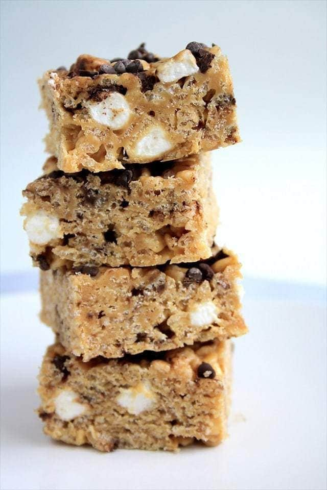 Peanut Butter Chocolate Chip Krispie treats are an incredibly delicious twist on a classic treat! You can be sure they won't last long!