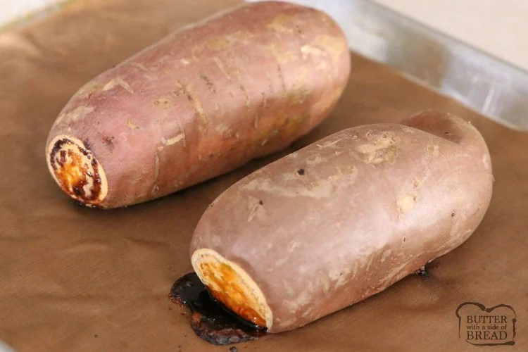 Baked Sweet Potato using the easiest method ever! Super simple, tried and true way that shows just how easy it is to bake a sweet potato.