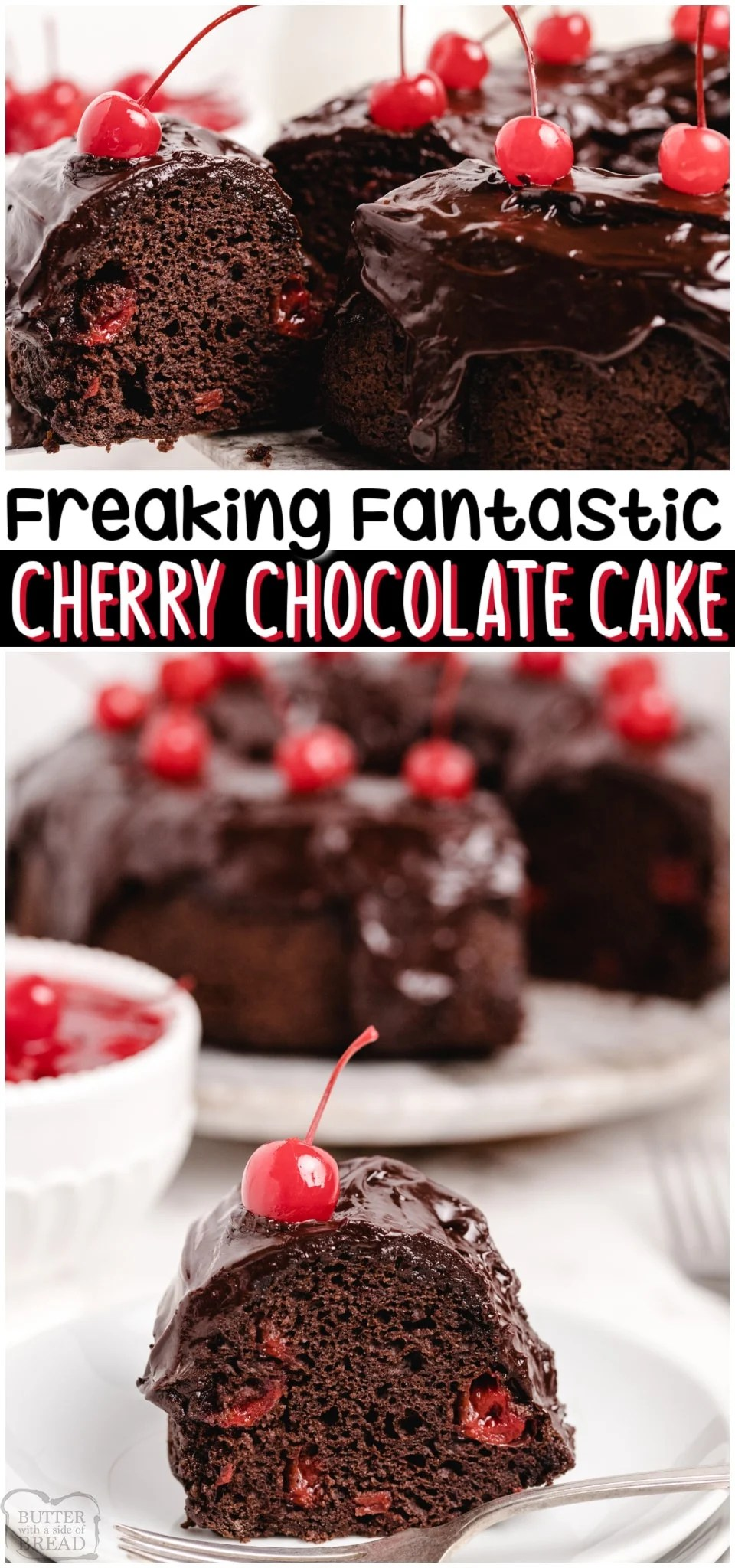 Family Favorite Chocolate Cherry Cake with only 3 ingredients: a cake mix, cherry pie filling & eggs! You're going to love this moist & delicious chocolate cherry cake recipe!#cake #chocolatecake #cherrycake #cherry #baking #dessert #easyrecipe from BUTTER WITH A SIDE OF BREAD